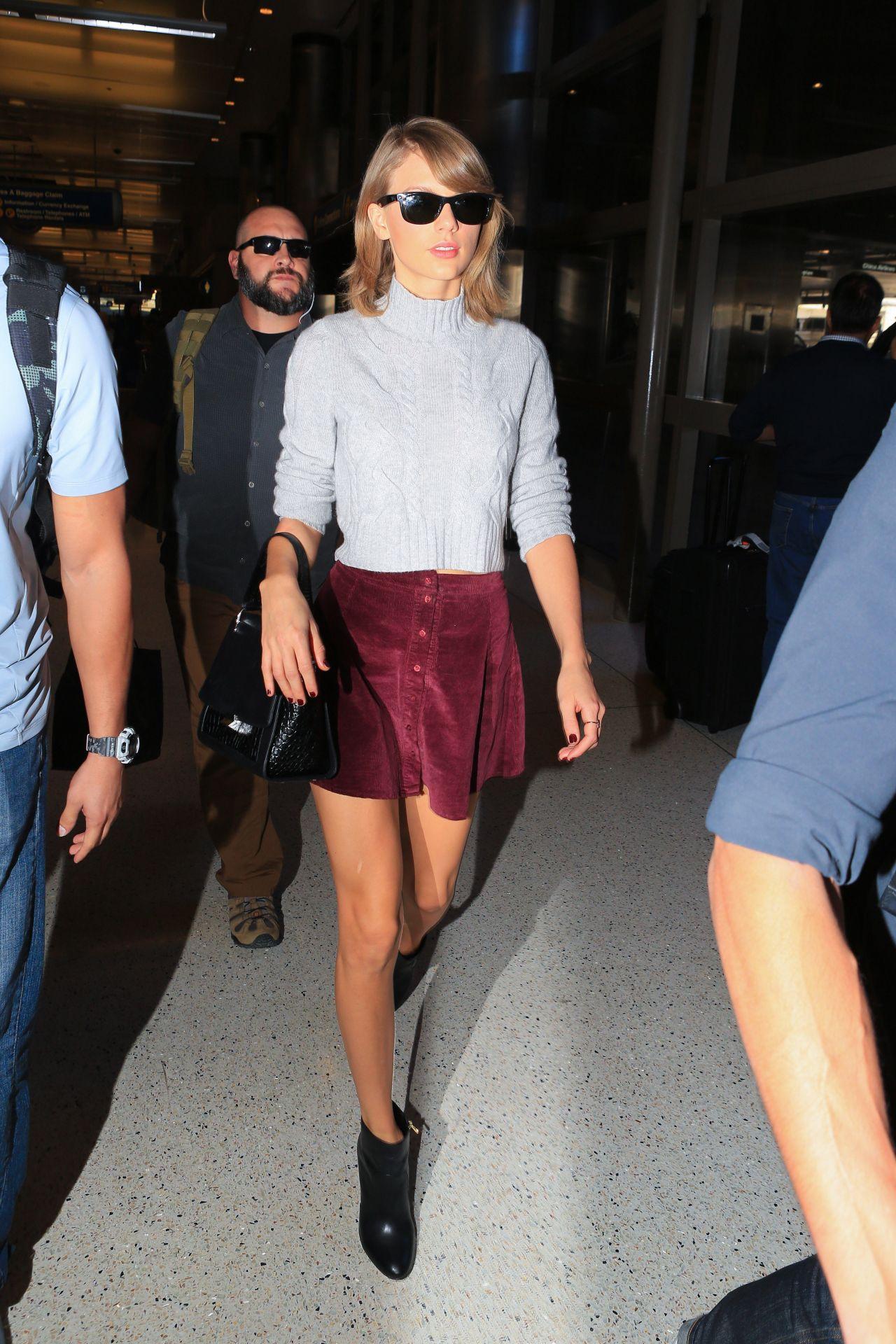 Taylor Swift Leggy In Mini Skirt Lax Airport November 2015