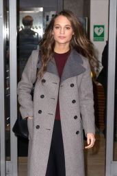 Alicia Vikander Autumn Style - at BBC Studios in London, December 2015