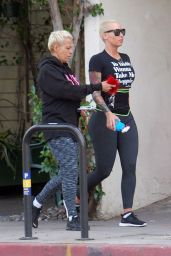 Amber Rose in Leggings - Out in Studio City 12/29/2015
