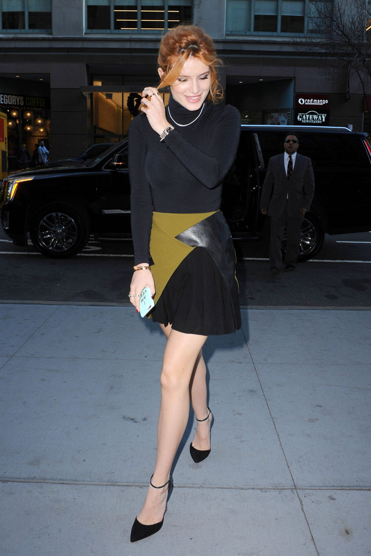 Bella Thorne In Mini Skirt Visiting The Huffington Post