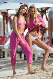 Candice Swanepoel and Behati Prinsloo in Bikini - Victoria