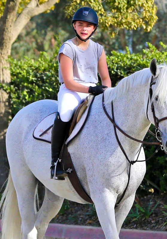 Chloë Moretz - Riding a Horse in Los Angeles, December 2015