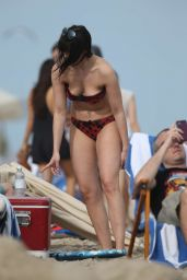 Daisy Lowe Bikini Candids - Beach in Miami 12/28/2015