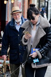 Daisy Lowe Make Up Free - Walking With Her Dog in Hampstead, December 2015