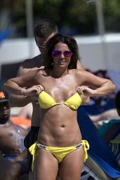 Danielle Lloyd in Yellow Bikini - Enjoying the Beach in Barbados, December 2015