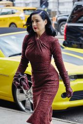 Dita Von Teese in Red Retro Tweed Dress - Arriving at Her Hotel in New York, 12/3/2015