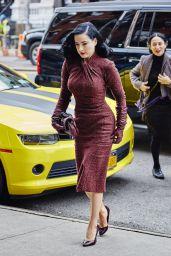 Dita Von Teese in Red Retro Tweed Dress - Arriving at Her Hotel in New York, 12/3/2015