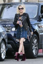 Emma Roberts Leggy in Mini Skirt -