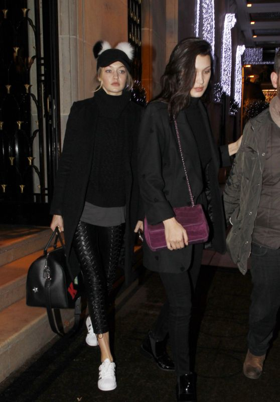 Gigi and Bella Hadid Night Out Style - Paris, France, December 2015