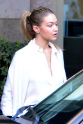 Gigi Hadid Wearing All White - Out in Beverly Hills, 12/23/2015