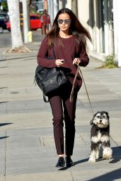 Jamie Chung Casual Style - Walking Her Dog in Los Angeles, December 2015