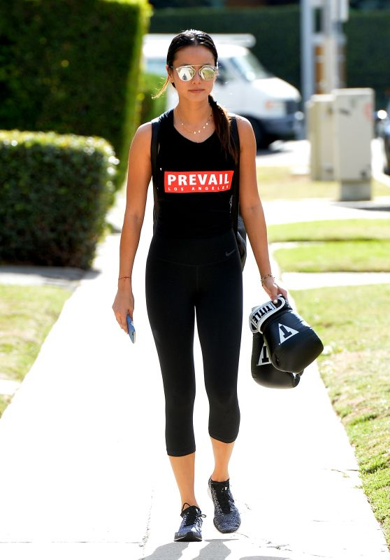 Jamie Chung in Leggings - Leaves a Gym With Boxing Gloves in West Hollywood, December 2015