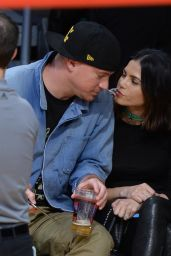Jenna Dewan, Channing Tatum and Emmanuelle Chriqui at the Staples Center in Los Angeles, December 2015
