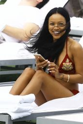 Karrueche Tran in Bikini at the Pool at Her Hotel in Miami, December 2015