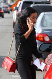 Karrueche Tran - Receiving a Parking Ticket - Melrose in West Hollywood, November 2015