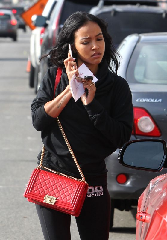 Karrueche Tran - Receiving a Parking Ticket - Melrose in West Hollywood, November 2015