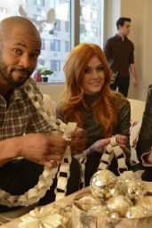 Katherine McNamara - Pop-Up Santa Surprise to Meet Author Cassandra Clare in New York City