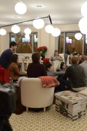 Katherine McNamara - Pop-Up Santa Surprise to Meet Author Cassandra Clare in New York City