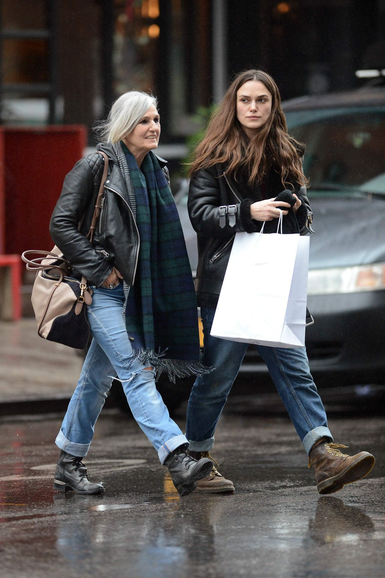 Keira Knightley And Her Mother Leaving Dimes Restaurant