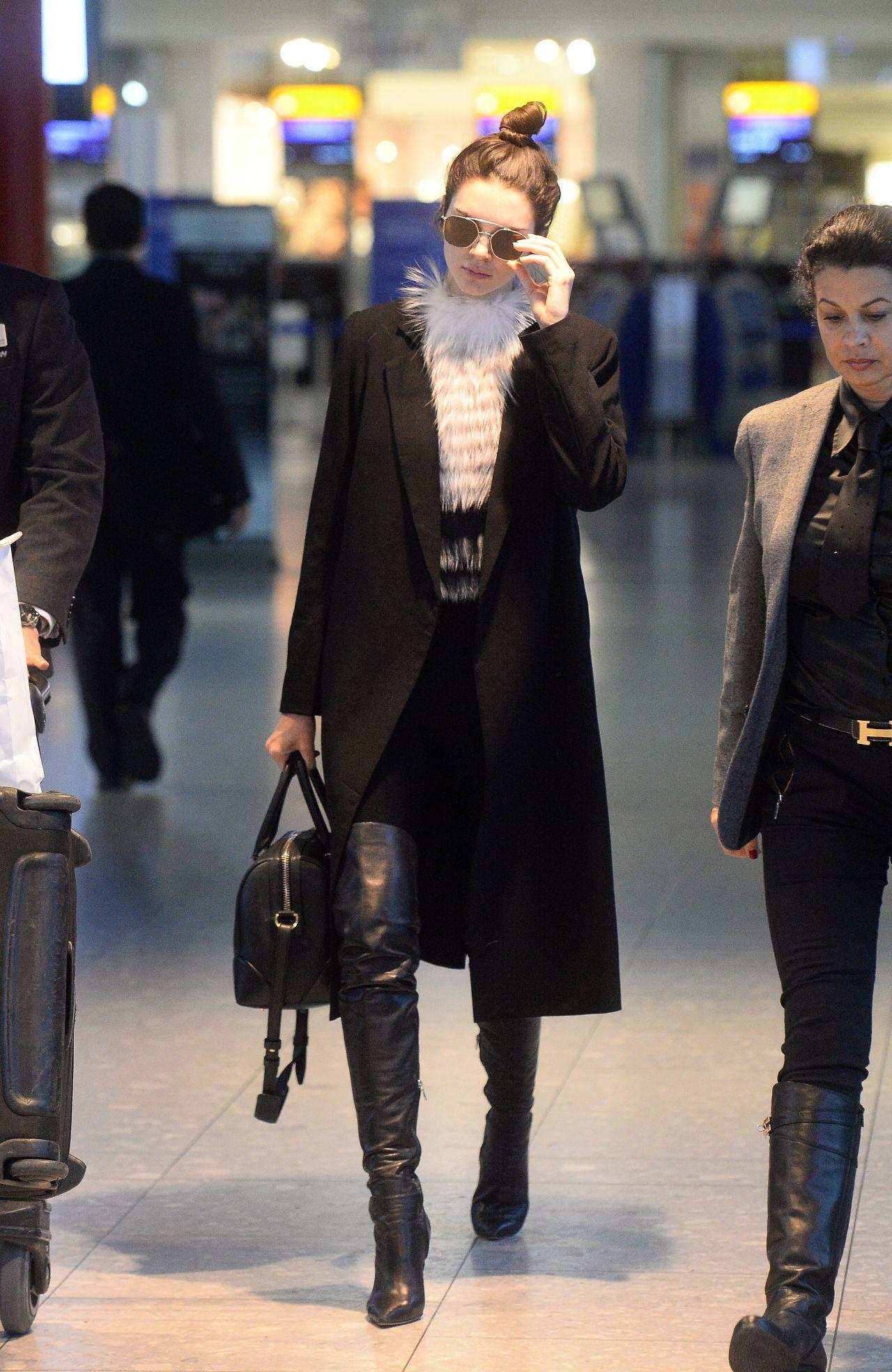 Kendall Jenner - Arriving at London Heathrow Airport, December 2015