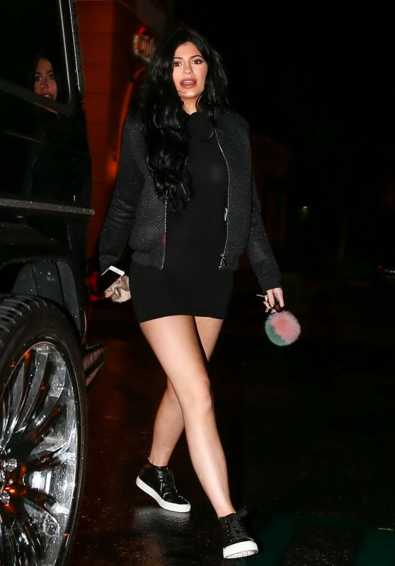 Kylie Jenner Leggy in Mini Dress - at Sugarfish Sushi in Calabasa, December 2015