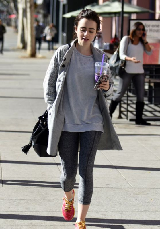 Lily Collins - Leaving Pilates in West Hollywood, 12/16/2015