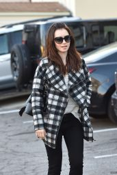 Lily Collins Street Style - Leaving an Office in Los Angeles, December 2015