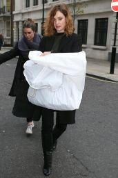 Lily James Leaving BBC Radio 2 Studios in London, December 2015