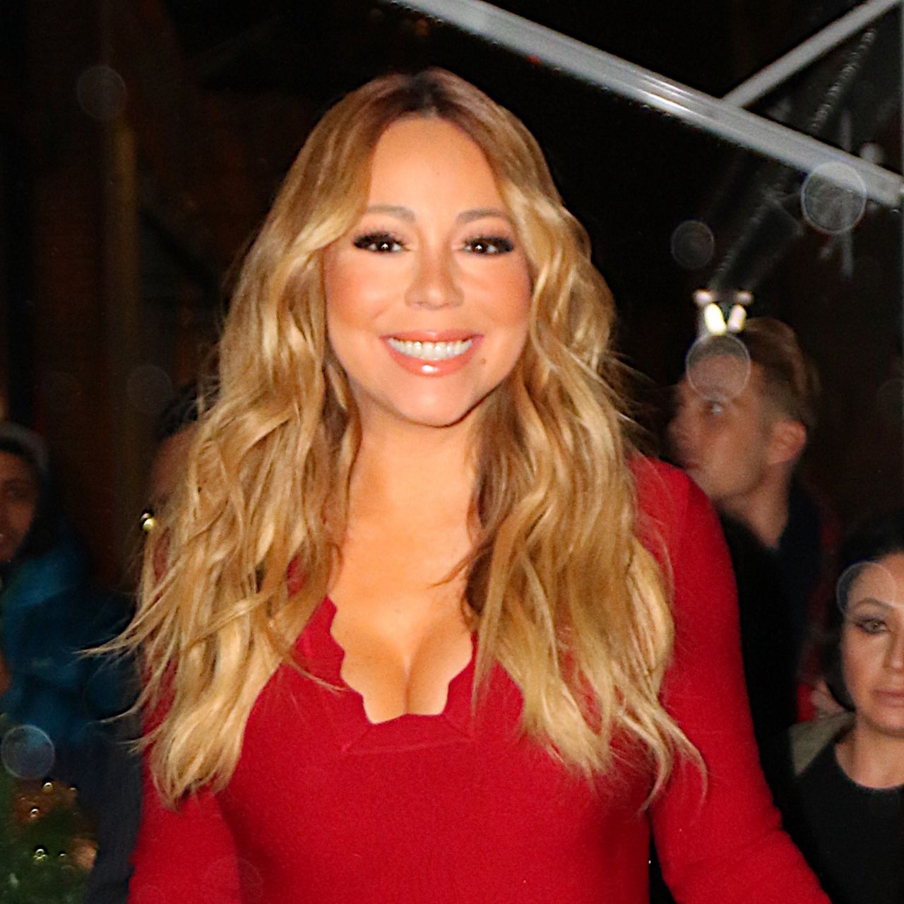 Carey - Heads to Pier 1 in Red Dress for Christmas Book Event in ...