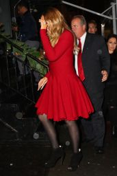Mariah Carey - Heads to Pier 1 in Red Dress for Christmas Book Event in New York