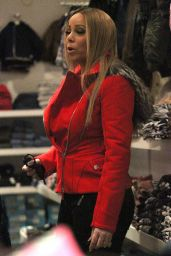 Mariah Carey in Red Jacket and Snow Boots - Shops Up a Storm in Aspen, December 2015
