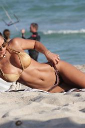 Michelle Lewin Hot in a Bikini at a Beach in Miami 12/28/2015