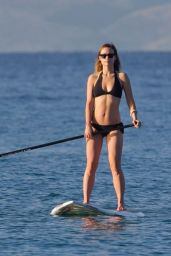Olivia Wilde in a Bikini Paddle Board in Hawaii, December 2015