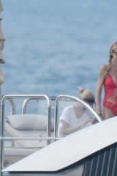 Paris Hilton in a Red Swimsuit on a Yacht in Saint Barthelemy, December 2015
