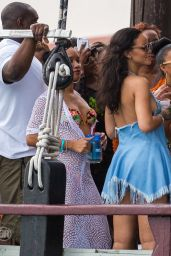 Rihanna Wears Blue Short Dress - Out in Barbados 12/27/2015