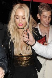 Rita Ora Night Out Style - Outside China Tang Restaurant in London, 11/30/2015