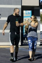 Ronda Rousey Street Style - Gets a Drink From a Starbucks 12/20/2015