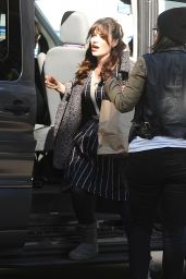 Zooey Deschanel on the Set of New Girl in Los Angeles, December 2015