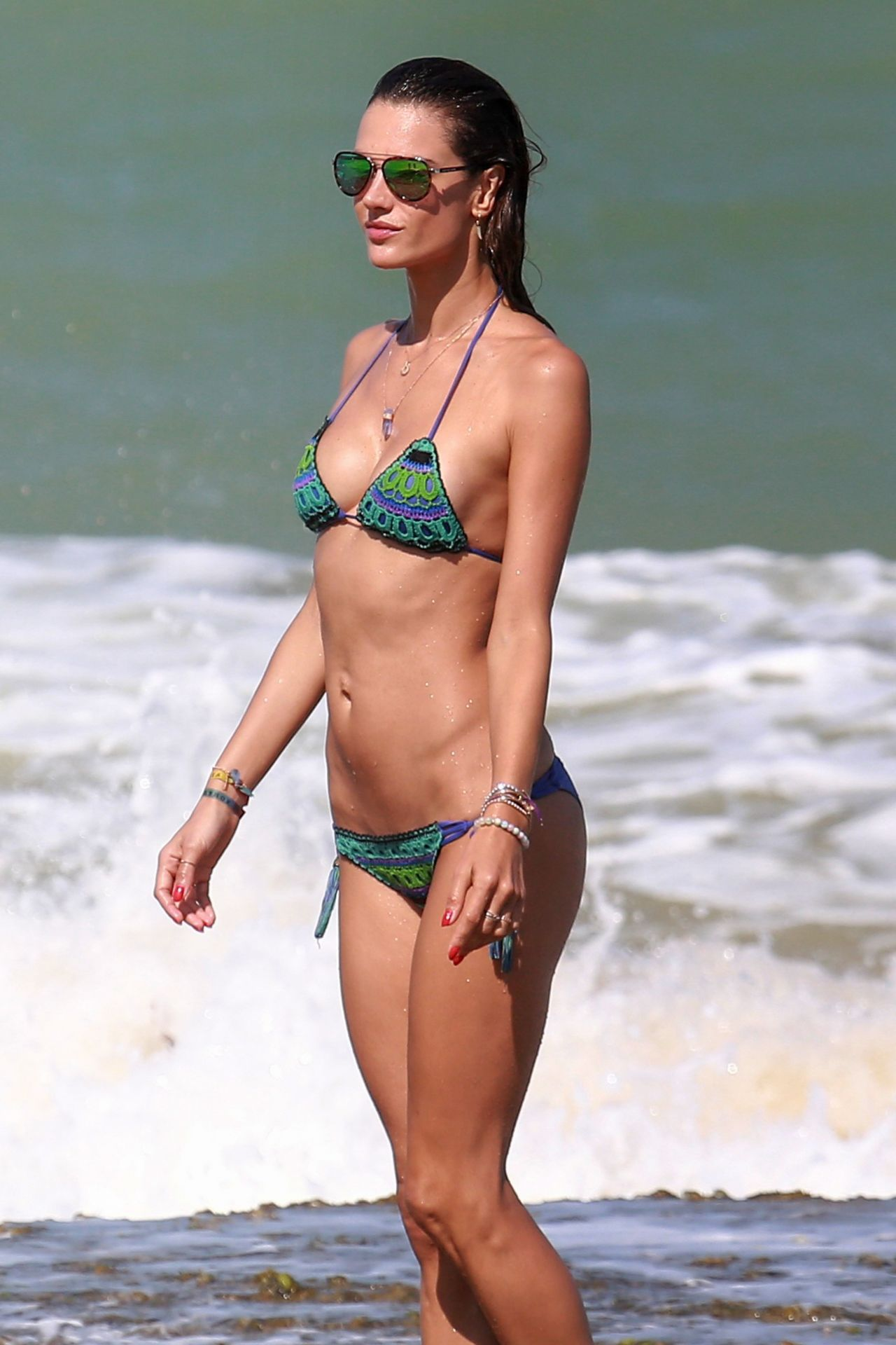 Alessandra ambrosio in swimsuit at the beach in malibu new pics