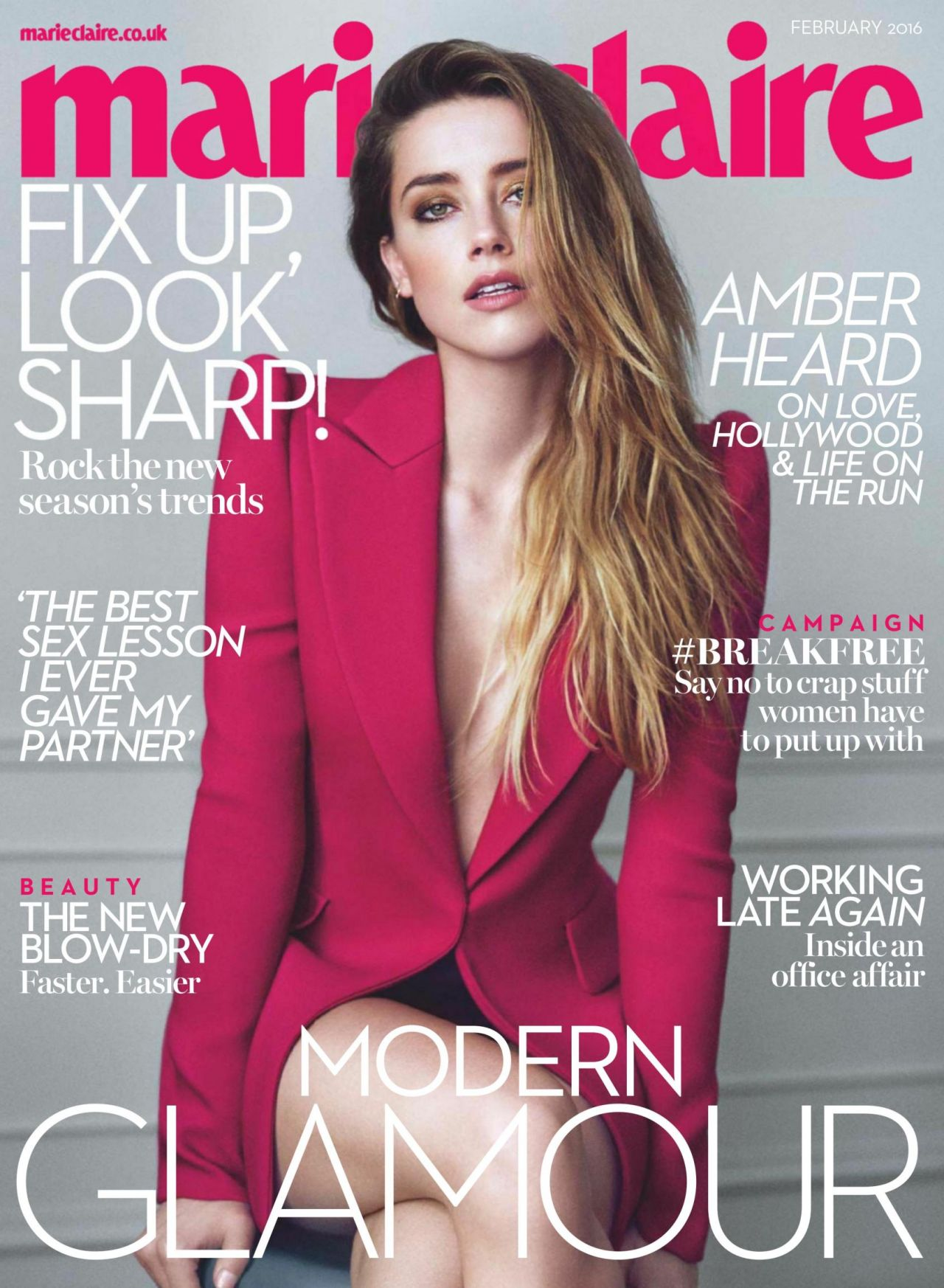 amber heard marie claire magazine uk february 2016 issue. Black Bedroom Furniture Sets. Home Design Ideas