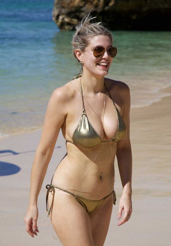 Ashley James in Gold Bikini in Bali 1/9/2016