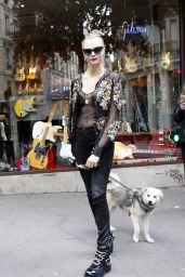 Cara Delevingne Street Fashion - at the Guitar Legend Store in Paris, January 2016
