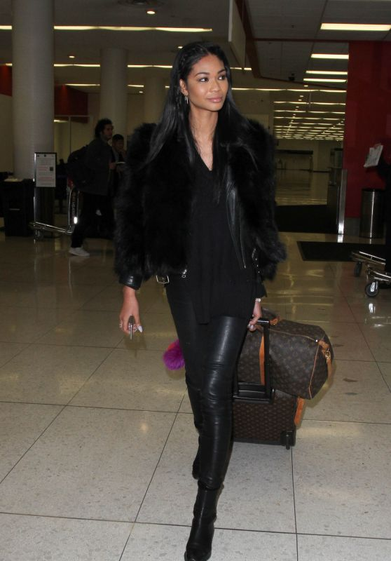Chanel Iman Airport Style - LAX in Los Angeles, CA 1/6/2016