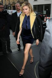 Chloe Moretz Leggy in Mini Skirt - at Hotel Le Bristol in Paris 1/20/2016