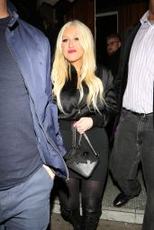Christina Aguilera Night Out Style - Leaving