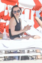 Daisy Ridley in Black Swimsuit - Miami Beach 1/4/2015