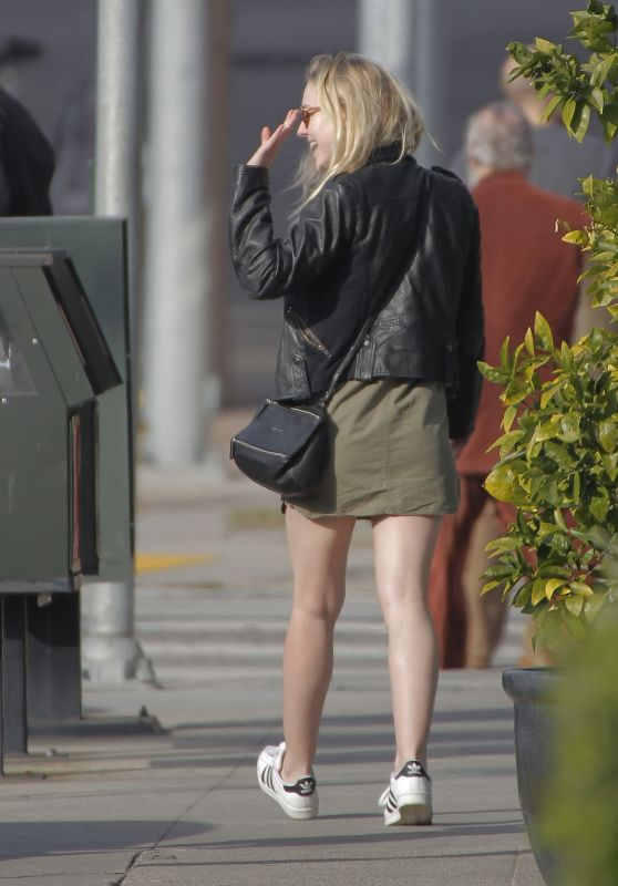 Dakota Fanning Leggy in Mini Skirt - Leaving Tavern in Brentwood, January 2016