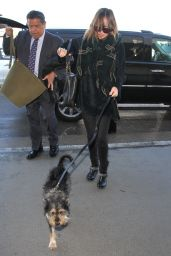 Dakota Johnson With her Dog at LAX in Los Angeles 1/7/2016