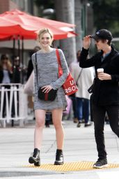 Elle Fanning in Mini Dress - Out in Beverly Hills 1/16/2016