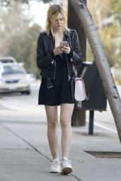 Elle Fanning Leggy in Mini Dress - Out in Studio City, 01/10/2016